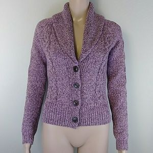 [LOFT] Pink Brown Brown Button Front Cardigan